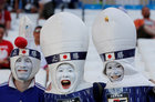 Japan fans outside the stadium before the match. Reuters