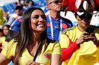 A Colombia fan inside the stadium before a match. Reuters