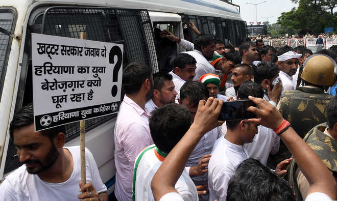 Haryana Youth Cong workers up in arms