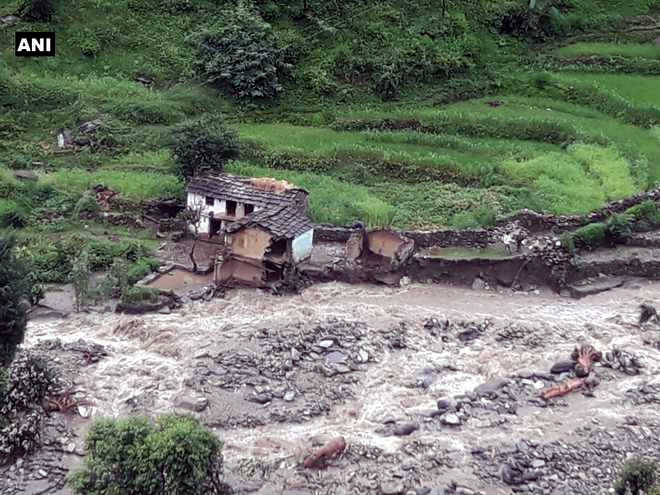 Houses damaged  in Chamoli cloudburst