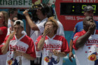 Max Suzuki competes in the annual Nathans Hot Dog Eating Contest in Brooklyn, New York City, US, July 4. Reuters