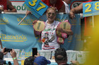 Competitive eater Miki Sudo, after eating 37 hot dogs, wins the Nathans Hot Dog Eating Contest in Brooklyn, New York City, US, July 4. Reuters
