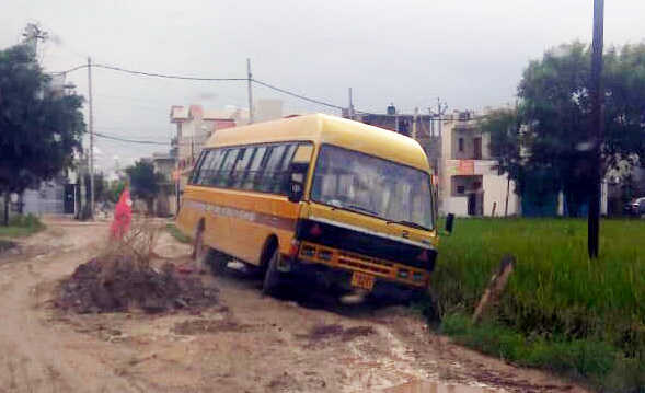 Close shave for kids as bus skids