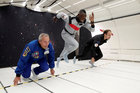 Retired sprinter Usain Bolt, French astronaut Jean-Francois Clervoy, CEO of Novespace, and French Interior designer Octave de Gaulle who designed a bottle of 'Mumm Grand Cordon Stellar' enjoy zero gravity conditions during a flight in a specially modified Airbus Zero-G plane above Reims, France, on September 12. Reuters