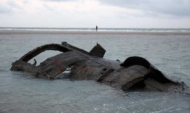 German WW1 submarine wreck emerges off French coast