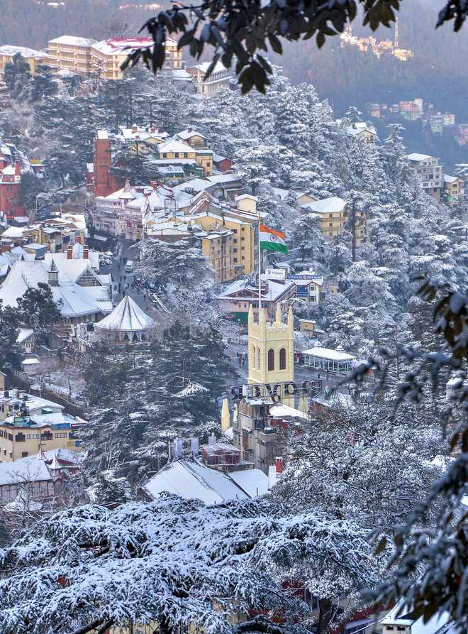 All bright and white as Shimla gets fresh snow