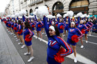Cheerleaders perform during the New Year's Day parade in London, Britain, January 1, 2019. Reuters