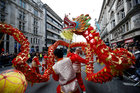 Dancers perform during the New Year's Day parade in London, Britain, January 1. Reuters