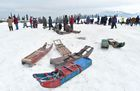 Sleighs lay on a snow-covered area at Gulmarg, some 55 km north of Srinagar on January 1. AFP
