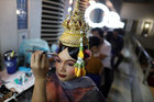 Dancers get ready backstage before a performance of masked theatre known as Khon, known as Lakhon Khol at the Thailand Cultural Centre in Bangkok, Thailand November 7, 2018. Reuters