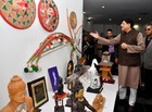 Union Minister Piyush Goyal looks at the gifts received by Prime Minister Narendra Modi during an auction, at National Gallery of Modern Art in New Delhi on January 27. Tribune photo: Manas Ranjan Bhui