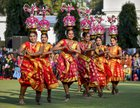 Tableau artists from Tamil Nadu, who participated on Republic Day Parade 2019, perform during the interaction with Vice President Venkaiah Naidu at his residence, in New Delhi, January 28. PTI