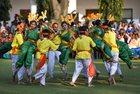 Tableau artists from Maharashtra, who participated on Republic Day Parade 2019, perform during the interaction with Vice President Venkaiah Naidu at his residence, in New Delhi. PTI