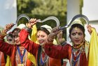 Tableau artists from Uttarakhand, who participated on Republic Day Parade 2019, perform during the interaction with Vice President Venkaiah Naidu at his residence, in New Delhi. PTI