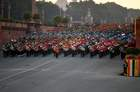 Marching bands from the Indian armed forces perform during the Beating Retreat ceremony in New Delhi on January 29. AFP