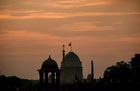 The Presidential Palace buildings are seen at sunset during the Beating Retreat ceremony in New Delhi on January 29. AFP
