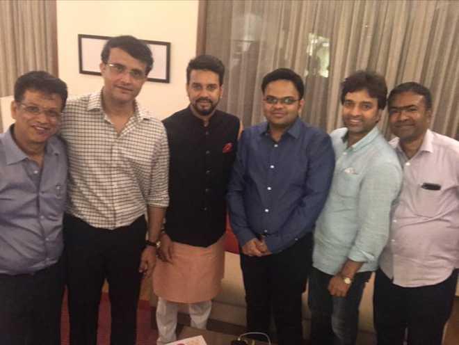 Ganguly introduces new BCCI team; thanks Anurag Thakur