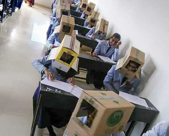 Karnataka students made to wear cartons to prevent copying