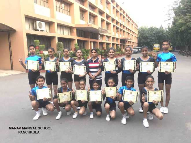 Manav Mangal gymnasts excel in state meet