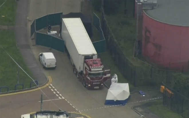 British police find 39 bodies in truck container near London