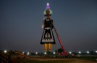 A 221-feet long effigy of the demon King Ravana is installed during preparations for the upcoming Hindu festival of Dussehra, in Chandigarh on October 3, 2019. — Reuters