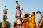 Artistes dressed as Lord Rama and Laxman aim bows and arrows towards an effigy of the Hindu demon king Ravana, on Vijayadashami, otherwise known as the Hindu festival of Dusshera, in Amritsar on October 8, 2019. PTI photo
