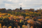 A cable car moves over the trees with autumn coloured leaves in Moscow, Russia on October 8, 2019. — Reuters