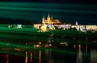 The light show is performed over the Vltava river in front of Prague's castle in Prague on October 10, 2019. — AFP