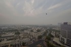 An aerial view of Connaught Place shrouded in heavy haze post-Diwali celebrations, in New Delhi on October 28, 2019. — PTI