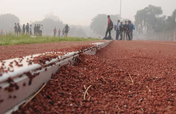 Inaugurated 2 months ago, synthetic track starts peeling off in Karnal