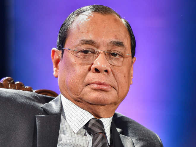 Outgoing CJI Ranjan Gogoi sits on Bench for last time
