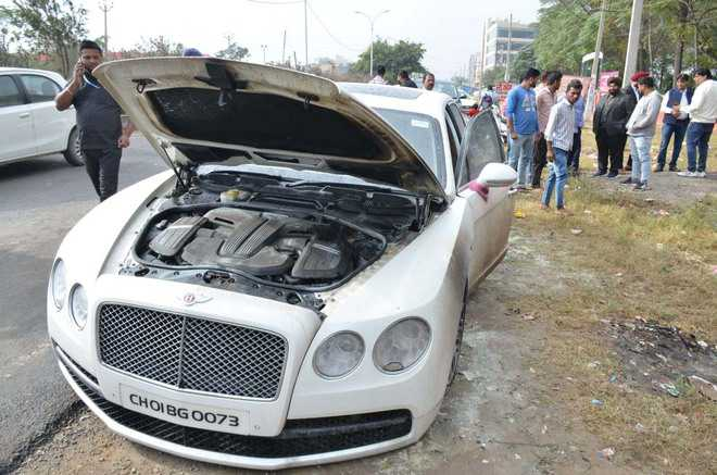 Close shave for groom as car catches fire