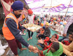 Farmer holds langar of sugarcane juice to mark Gurpurb