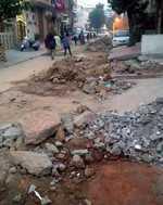 Construction work causes traffic jam