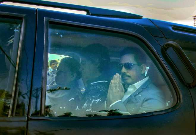 Robert Vadra, mother appear before ED in Jaipur in land deal case