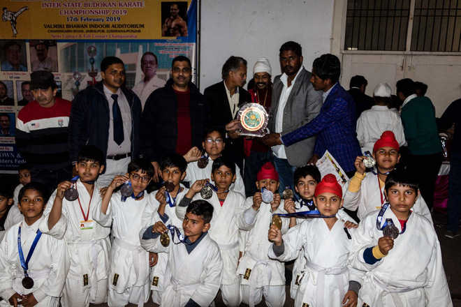 Winners of  karate, skating championships felicitated