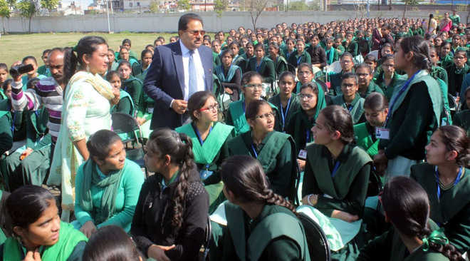 OP Soni meets students, urges them to take care of environment