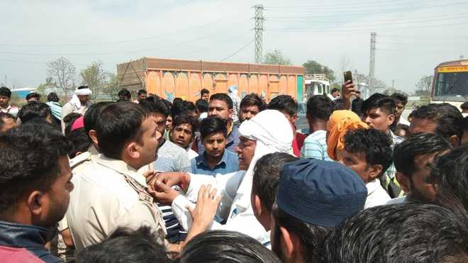 Army man crushed under truck; villagers block road