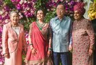 Former secretary-general of UN Ban-Ki-Moon with his wife Yoo Soon-taek pose for photos with industrialist Mukesh Ambani and wife Neeta Ambani as they arrive for the wedding ceremony of Akash Ambani with Shloka Mehta in Mumbai on March 9, 2019. PTI photo