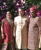 Bank of America CEO Brian T Moynihan poses for photos with industrialist Mukesh Ambani and wife Neeta Ambani as he arrives for the wedding ceremony of Akash Ambani with Shloka Mehta in Mumbai on March 9, 2019. PTI photo