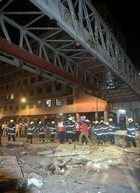 A general view shows a part of the partially collapsed foot overbridge near a train station in south Mumbai on Thursday, March 14, 2019. PTI