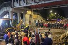 Rescue work in progress after a foot overbridge near a train station collapsed in south Mumbai on Thursday, March 14, 2019. PTI
