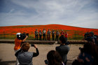 California State Park Officials speak to members of the media at the Antelope Valley California Poppy Reserve in Lancaster, California, US, March 26, 2019. — REUTERS