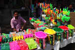Ahead of Holi, markets decked up with colours