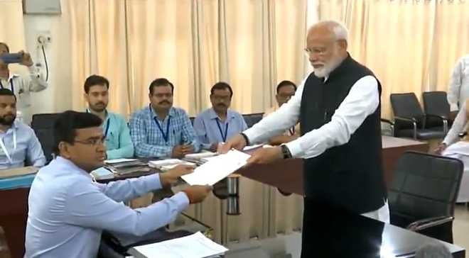 Accompanied by top NDA leaders, Modi files nomination from Varanasi
