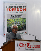 The Tribune Trust President NN Vohra speaks during a function to commemorate the centenary of the massacre at Bhargava Auditorium, PGI, Chandigarh, on Saturday. Tribune photo: Vijay Mathur