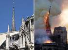Combination of file photographs shows the steeple Notre-Dame de Paris Cathedral - (L) taken on June 26, 2018 showing sculptures and the steeple and (R) the steeple of the landmark cathedral collapsing as the cathedral is engulfed in flames in central Paris on April 15, 2019. — AFP