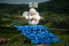A scarecrow is displayed during a 'Scarecrows Fair' in Castellar, Italy's northern village near Cuneo, on May 10, 2019. — AFP