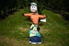 A scarecrow is displayed during a 'Scarecrows Fair' in Castellar, Italy's northern village near Cuneo. — AFP