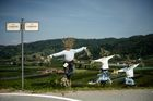 Scarecrows are displayed during a 'Scarecrows Fair' in Castellar, Italy's northern village near Cuneo, on May 10, 2019. — AFP
